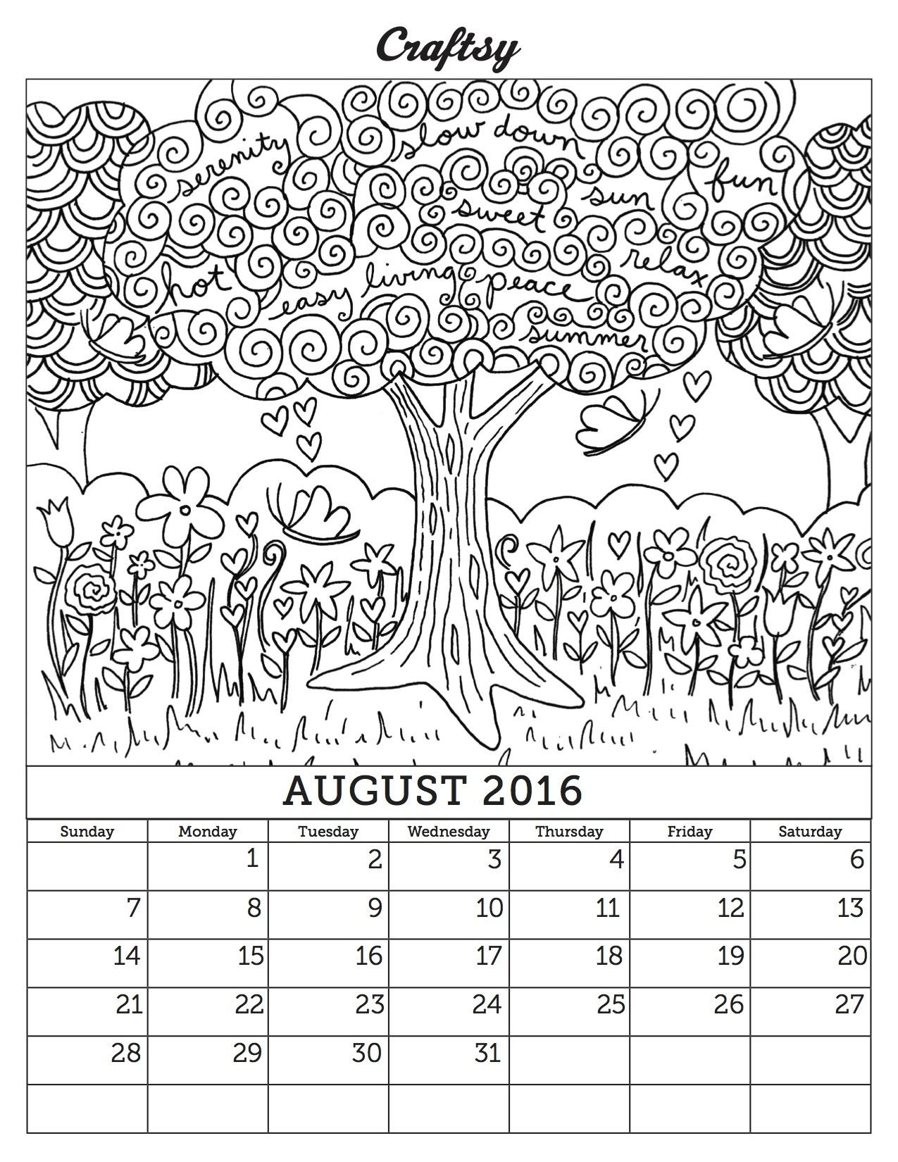 August Coloring Calendar Page Adult Coloring Pages