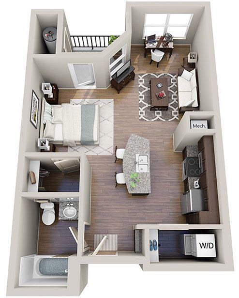 3d Studio Apartment Studio Apartment Floor Plans Apartment