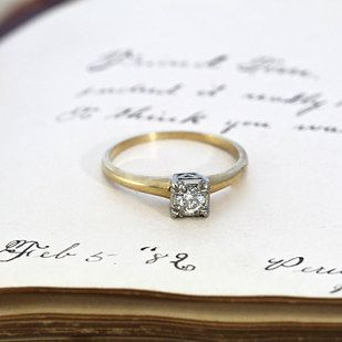 1950s Diamond Engagement Ring With Heart Detail 595 25 Vintage