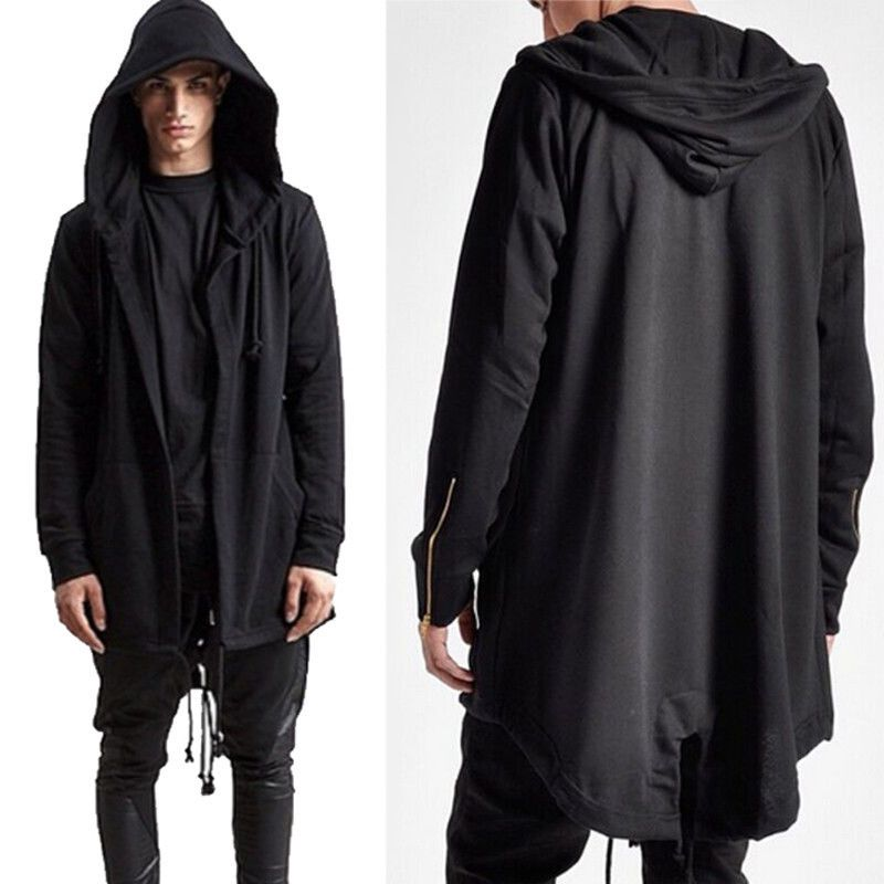 a9097b36d Fashion Men Hooded Jacket Long Cardigan Black Ninja Goth Gothic Punk Hoodie  Us #