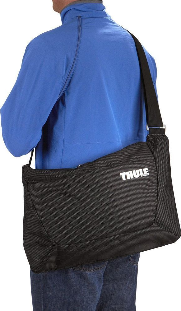 Thule Sweden Crossover 15 Inch Top Zip Laptop Messenger Bag Black With Storage Thulesweden Office Work College School Student