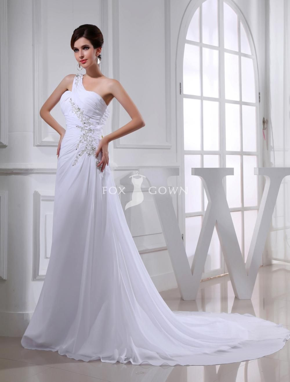 one shoulder asymmetrical ruching beaded embroidery chapel train ...
