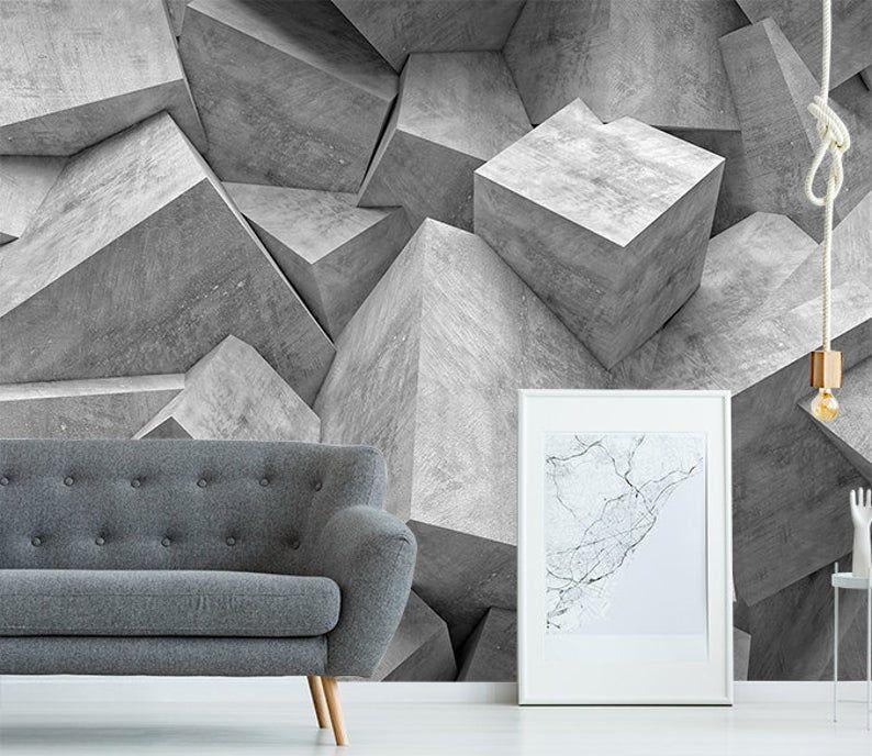 3d Grey Tones Stone Wallpaper Removable Self Adhesive Etsy Stone Wallpaper Self Adhesive Wallpaper Wall Murals