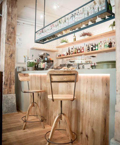 Resto bar le coc barra de madera decoracion tienda - Decoracion industrial vintage ...