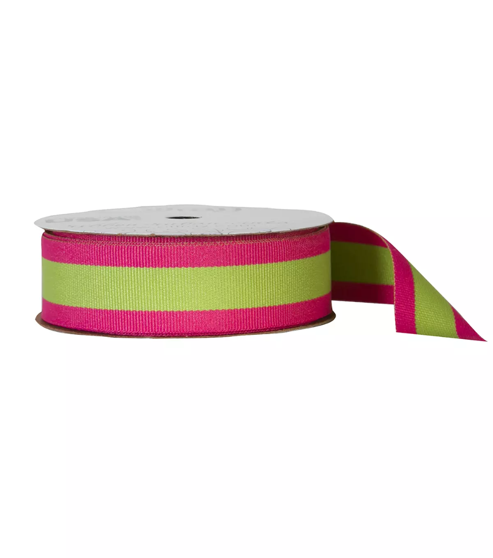 Offray 7 8 X9 Center Woven Stripes Ribbon Hot Pink And Lime Joann In 2020 Striped Ribbon Hot Pink Stripes