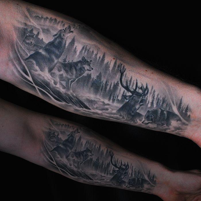 Completely Healed Black And Gray Arm Tatttoo Artist Martin Silin Wolf Wolftattoo Tattoo Deer Anim Animal Tattoos Black And Grey Tattoos Wildlife Tattoo