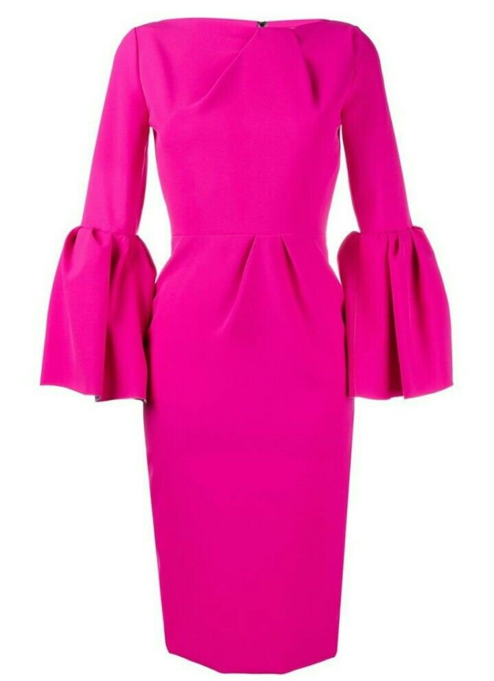 Bright Pink Dress Pink Long Sleeve Dress Fuschia Dress Pink Pleated Dress