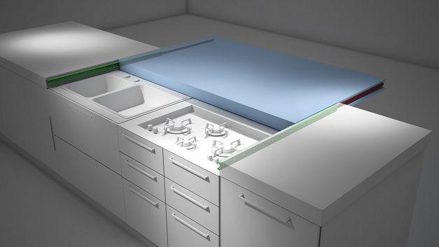 plan de travail coulissant ikea optimisation espace cuisine - Hauteur Plan De Travail Cuisine Ikea