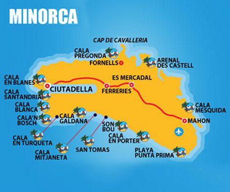 Cartina Geografica Spagna E Formentera.Cartina Minorca Spiagge Minorca Maiorca E Viaggi
