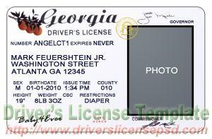 Georgia - Id Certificate Ga Templates Georgia For Birth Drivers Passport License Psd