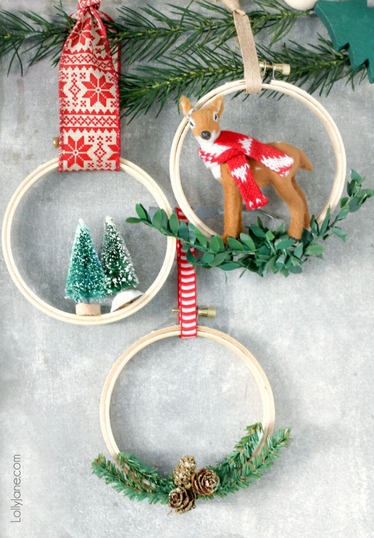 make these cute easy diy christmas hoop ornaments in no time at all so