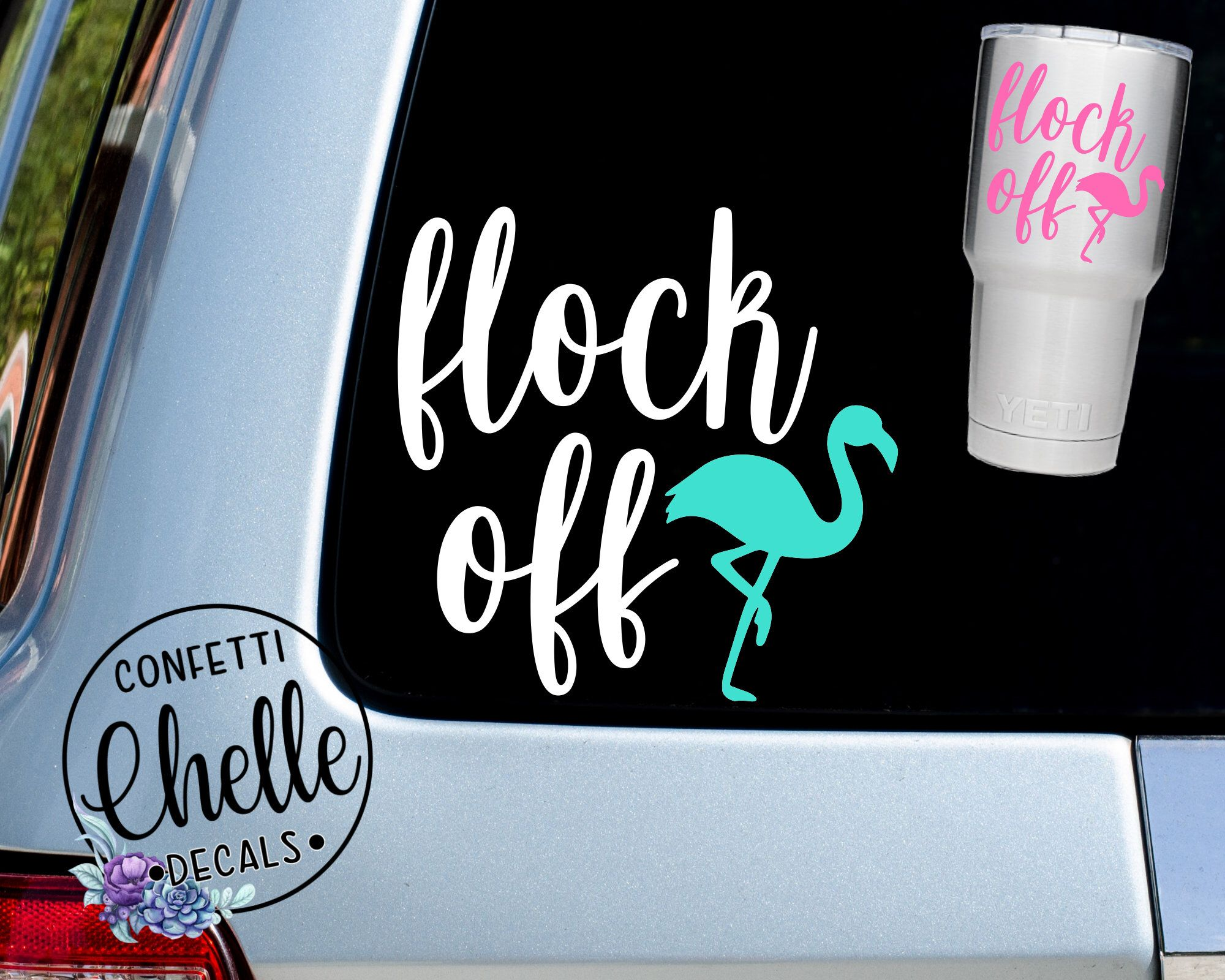 Excited To Share This Item From My Etsy Shop Flock Off Decal Flock Off Sticker Flamingo Decal Flamingo Decal Confetti Decals Monogram Decal [ 1600 x 2000 Pixel ]
