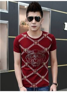 Round Neck Red Tiger Head Print T-shirt