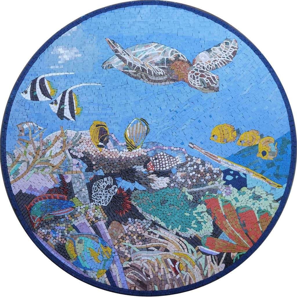 Down in the reef mosaic nautical artwork nautical
