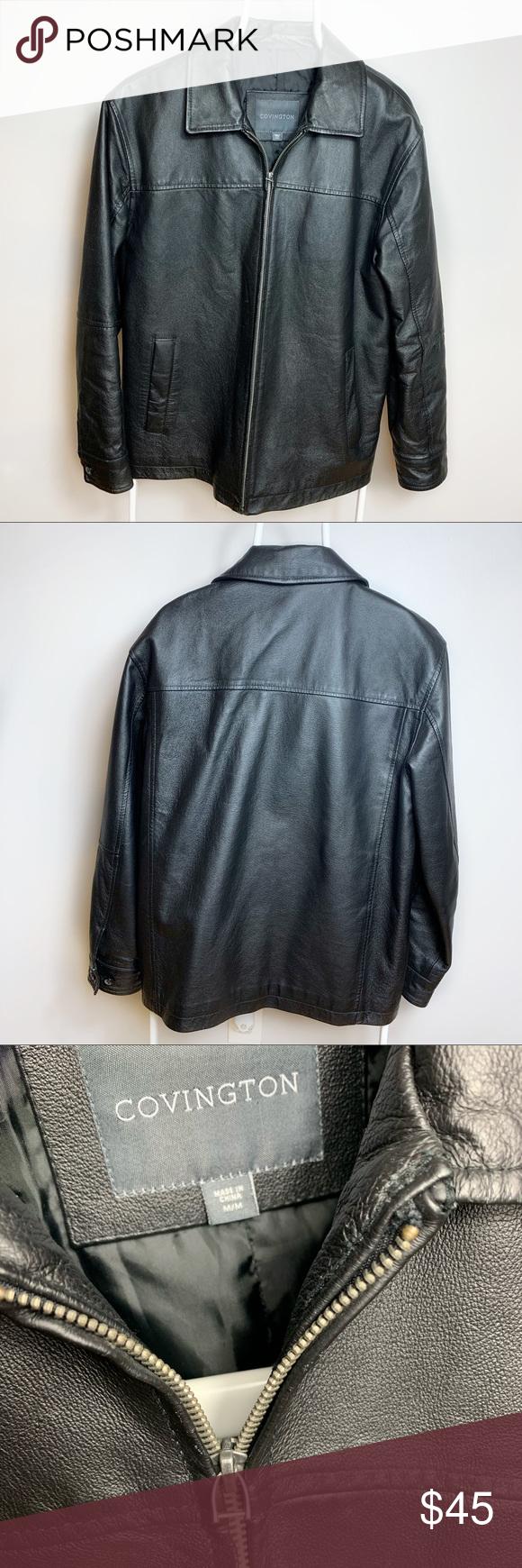 Covington Leather Jacket Men S Black M In 2021 Leather Jacket Men Real Leather Jacket Mens Jackets [ 1740 x 580 Pixel ]
