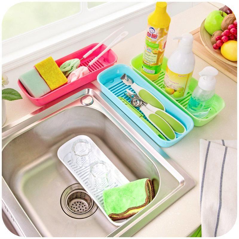 Drain Stylish Kitchen Countertop Storage Box Plastic Sink