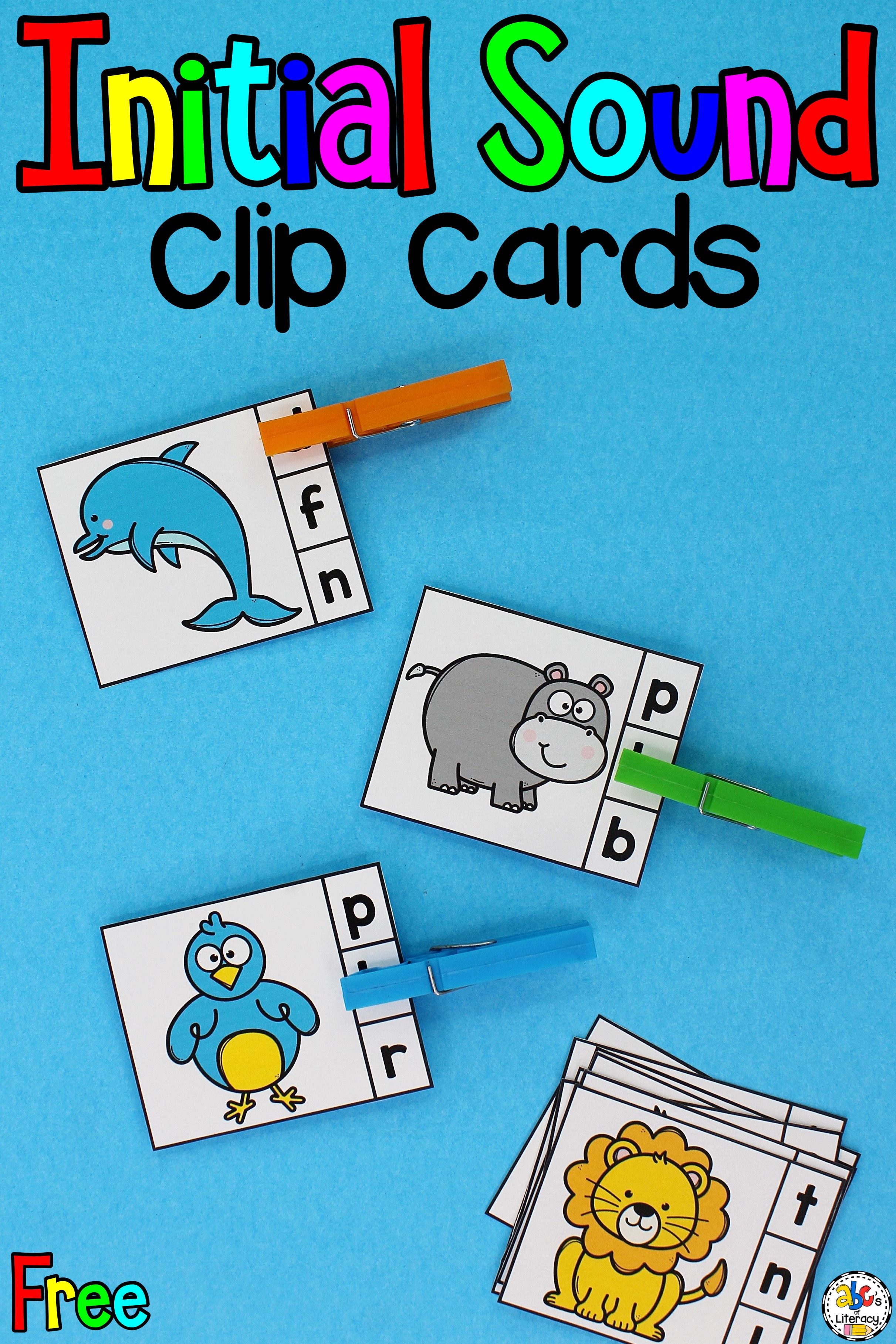 Animal Beginning Sounds Clip Cards Phonics Activity For