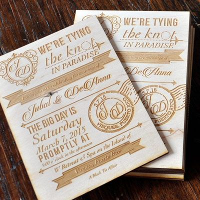 Vintage Wedding Invitations, Laser Engraved Wood Invitation
