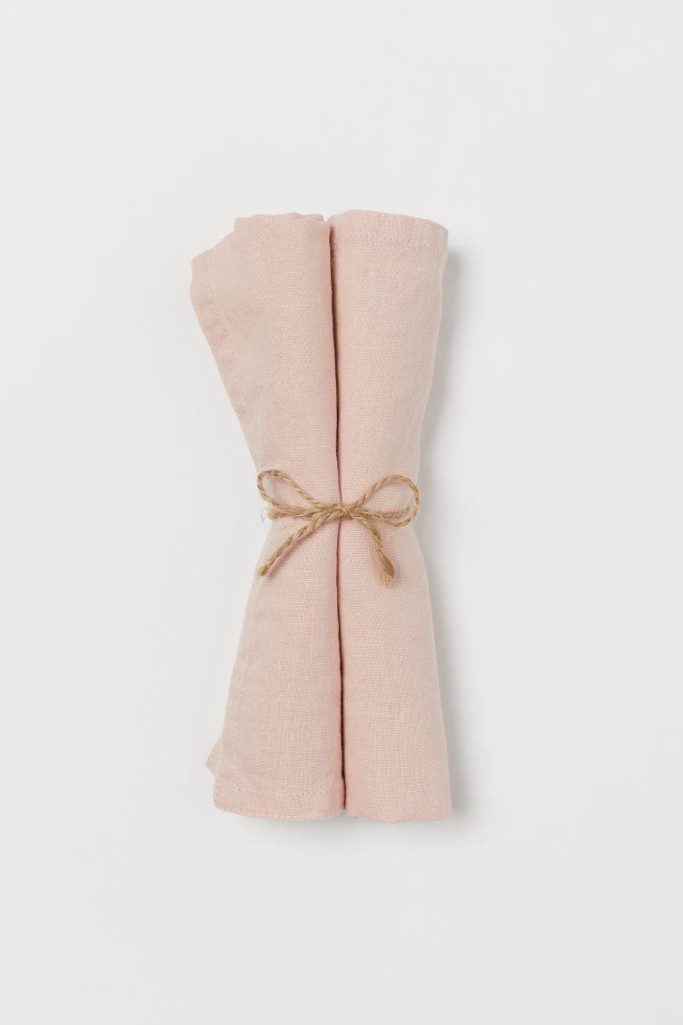 Serviettes en lin, lot de 2 – Rose clair – Accueil Tout | H&M FR   – New house