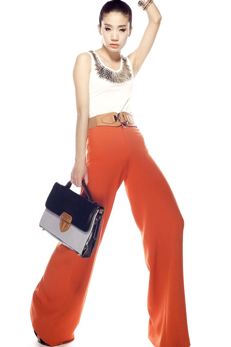 plus size 2012 summer autumn fashion new style wide leg high waist orange dress pants culottes loose long trousers for women-inPants & Capris from Apparel & Accessories on Aliexpress.com