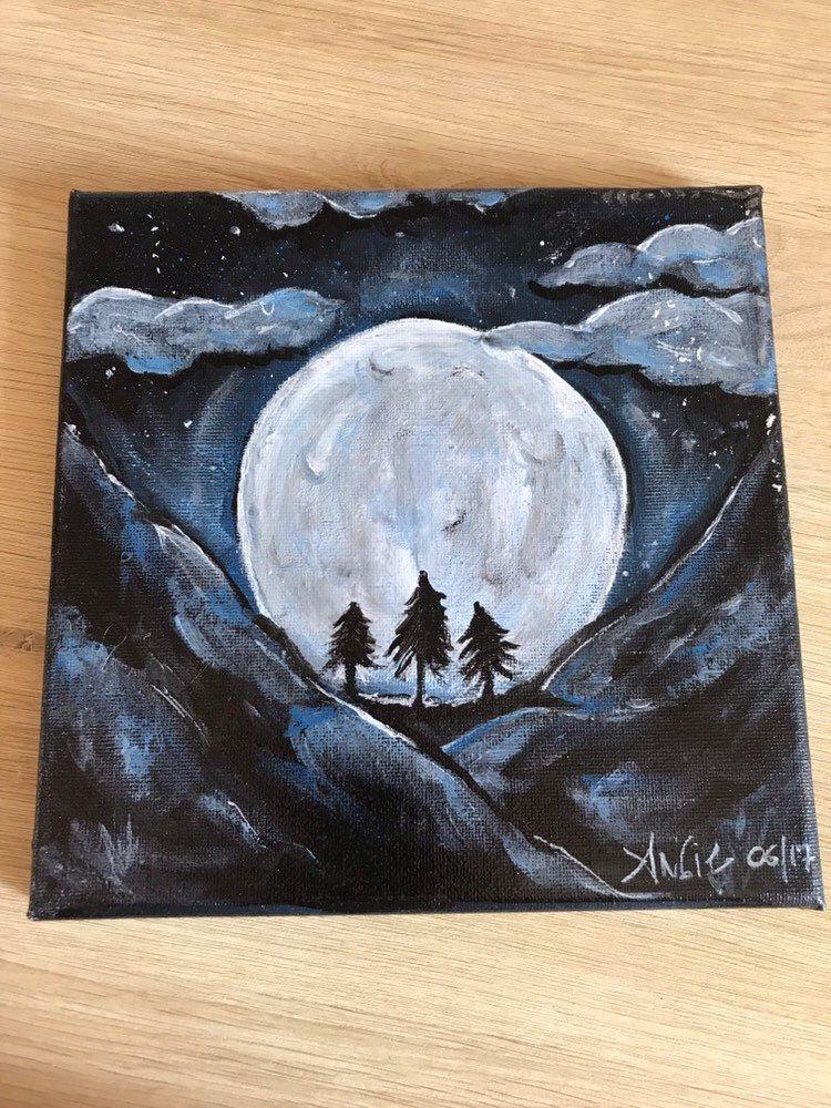 Pleine Lune A L Acrylique Pleine Lune Acrylique Et Peinture