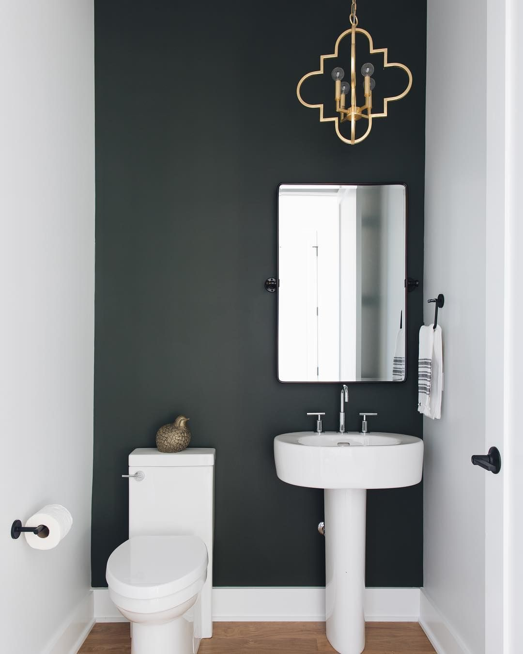 How Cute Is This Powder Room Love The Dark Accent Wall What S The Perfect Piece S For Over The Dark Accent Walls Bathroom Accent Wall Bathroom Design Small
