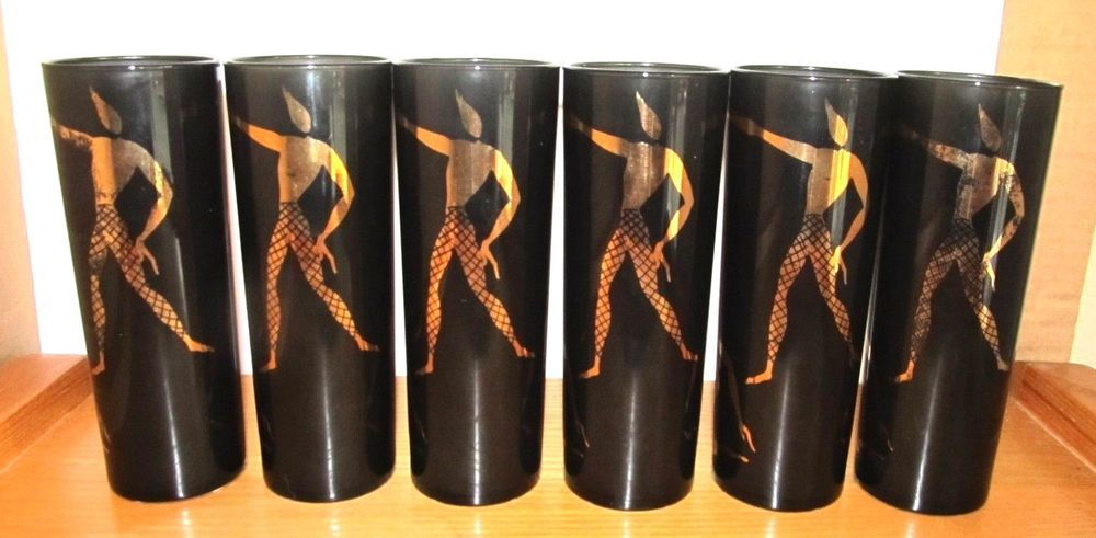 Federal Glass Black Gold Dance Tom Collins Mid Century Set 6 Vintage