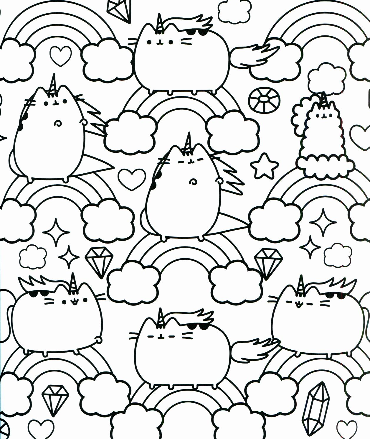Unicorn Kitty Coloring Pages Fresh Pusheen Coloring Book ...