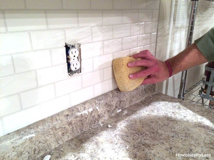 diy how to install grout and caulk a subway tile backsplash this is