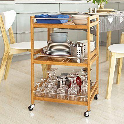 SoBuy® Servierwagen, Küchenwagen, Rollwagen aus Bambus FKW11-N - badezimmer rollwagen