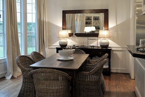Dining Room Buffet Decorating Ideas With Simple Rectangle Framed Mirror And Short Table Lamps Decolover