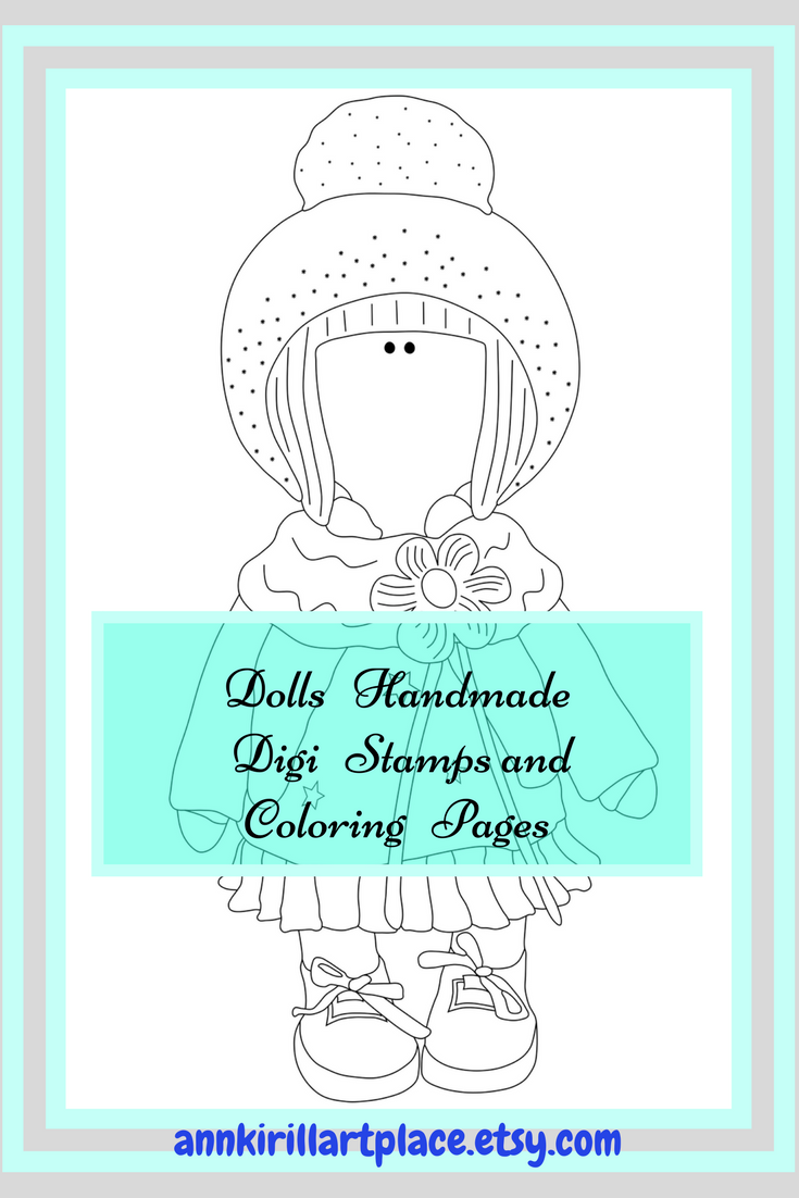 Color Me Doll Page, Big Head Doll Digital Stamp, Doll Coloring Page ...