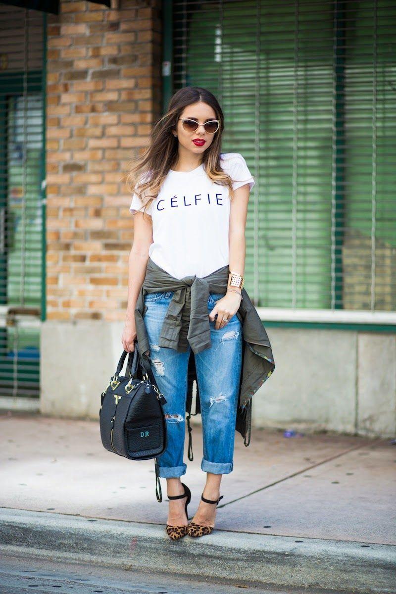 Black t shirt with dark blue jeans - Women S Dark Green Anorak White And Black Print Crew Neck T Shirt Blue Ripped Boyfriend Jeans Brown Leopard Suede Pumps
