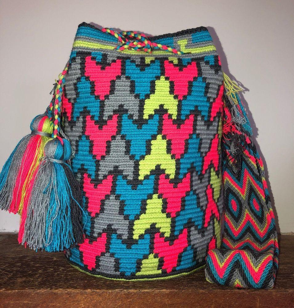 Colombian 100Wayuu Bag Neon Authentic Size Gorgeous Mochila Large xeWCBrdo