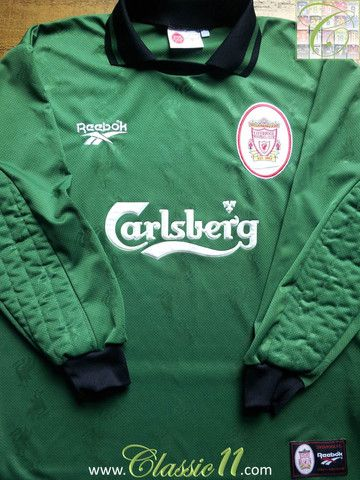 eb806f5c2 Relive Liverpool s 1996 1997 season with this vintage Reebok home  goalkeeper football shirt.