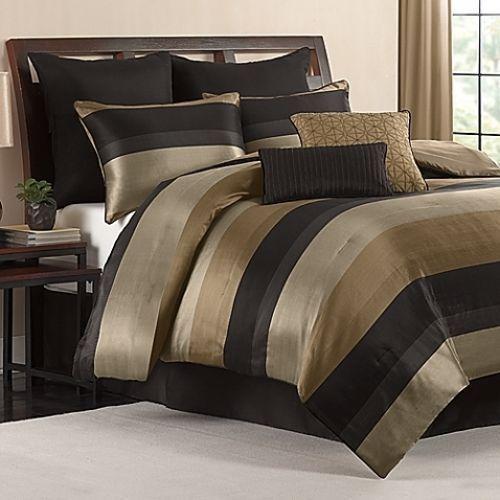 king size comforter set black gold tan satin finish 8 piece bedroom bedding newu2026