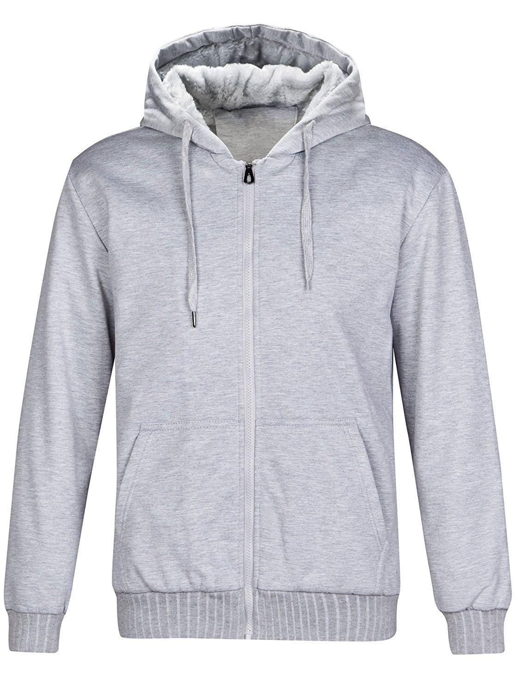 Mens Zipper Sweatshirt Pull Zip Outdoor Warm Fleece Hoodie