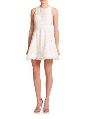 6fb0a2126b7 Alice + Olivia - Fran Fit   Flare Dress - Saks.com. Gilda Lace Back  Rhinestone ...