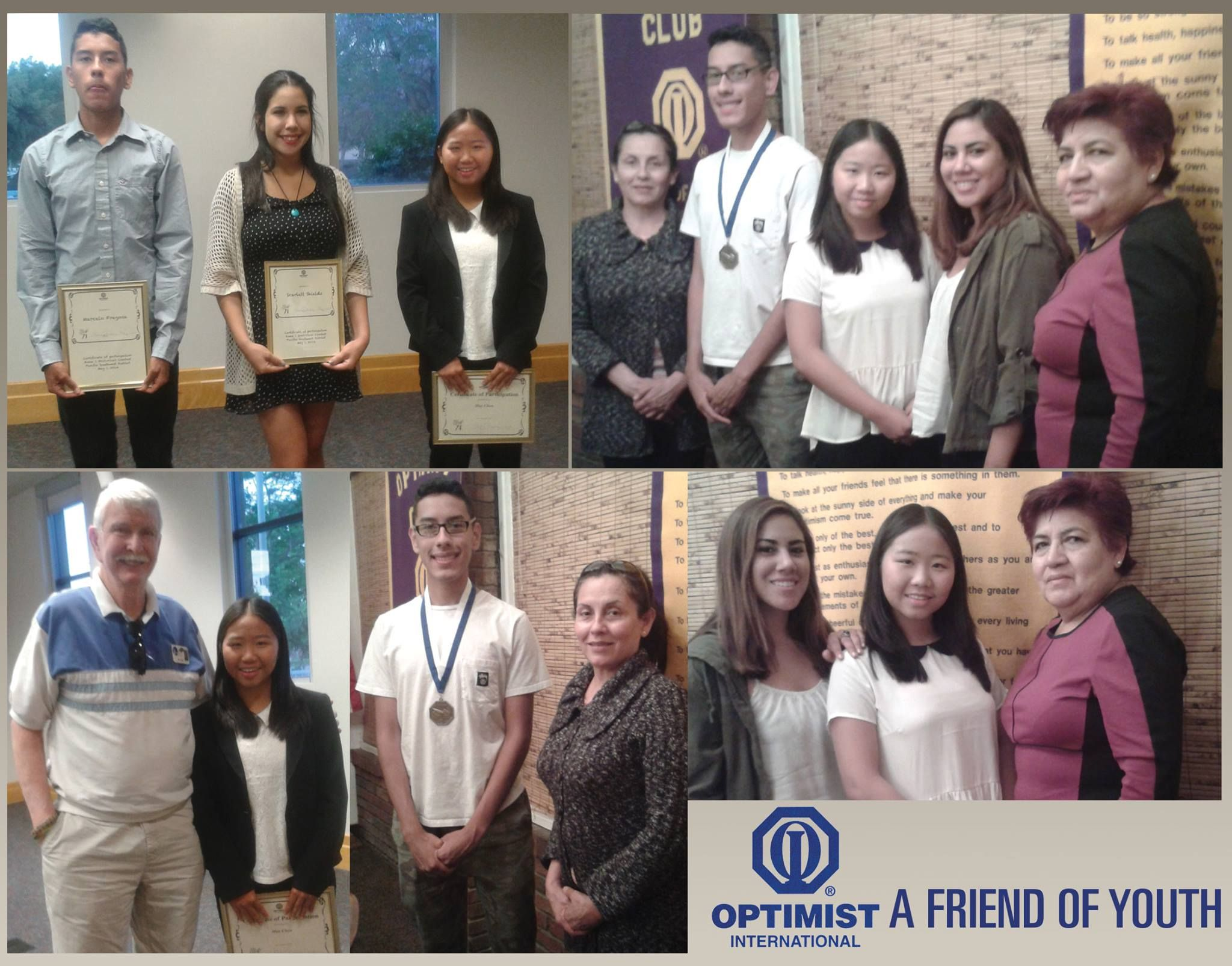 Van Nuys Airport Optimist Club - Here are pictures from the Oratorical Zone Contest with our students. May Chen, our Gold Winner headed to the next level. Marcelo Fregosa, our Silver Award Winner was designated as an alternate. Both Students are pictured here with their families and teachers who joined us for our April Dinner meeting. Congratulations to all the Students!