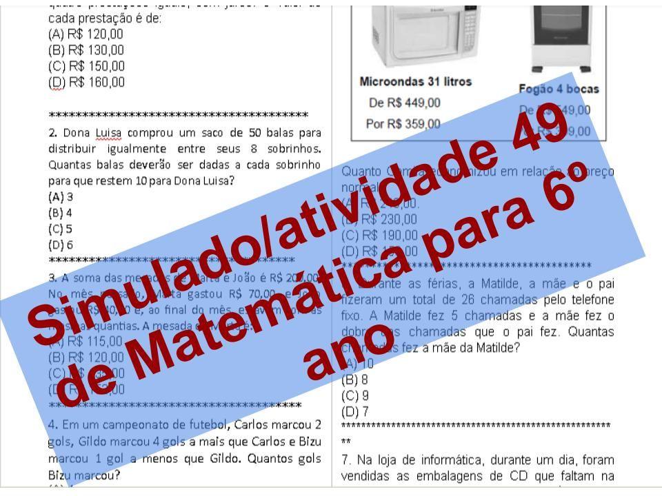 Pin Em Simulado Atividade De Matematica 6º Ano