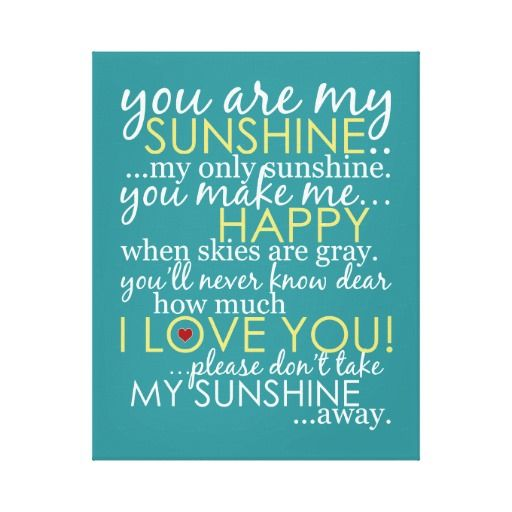 """Bright and cheery, this original subway art style design featuring the """"You Are My Sunshine"""" song lyrics will cheer up any classroom, child's bedroom, playroom or nursery!  It's such a special song to many people and will surely bring a smile to all who see it.  Choose your own canvas size!"""