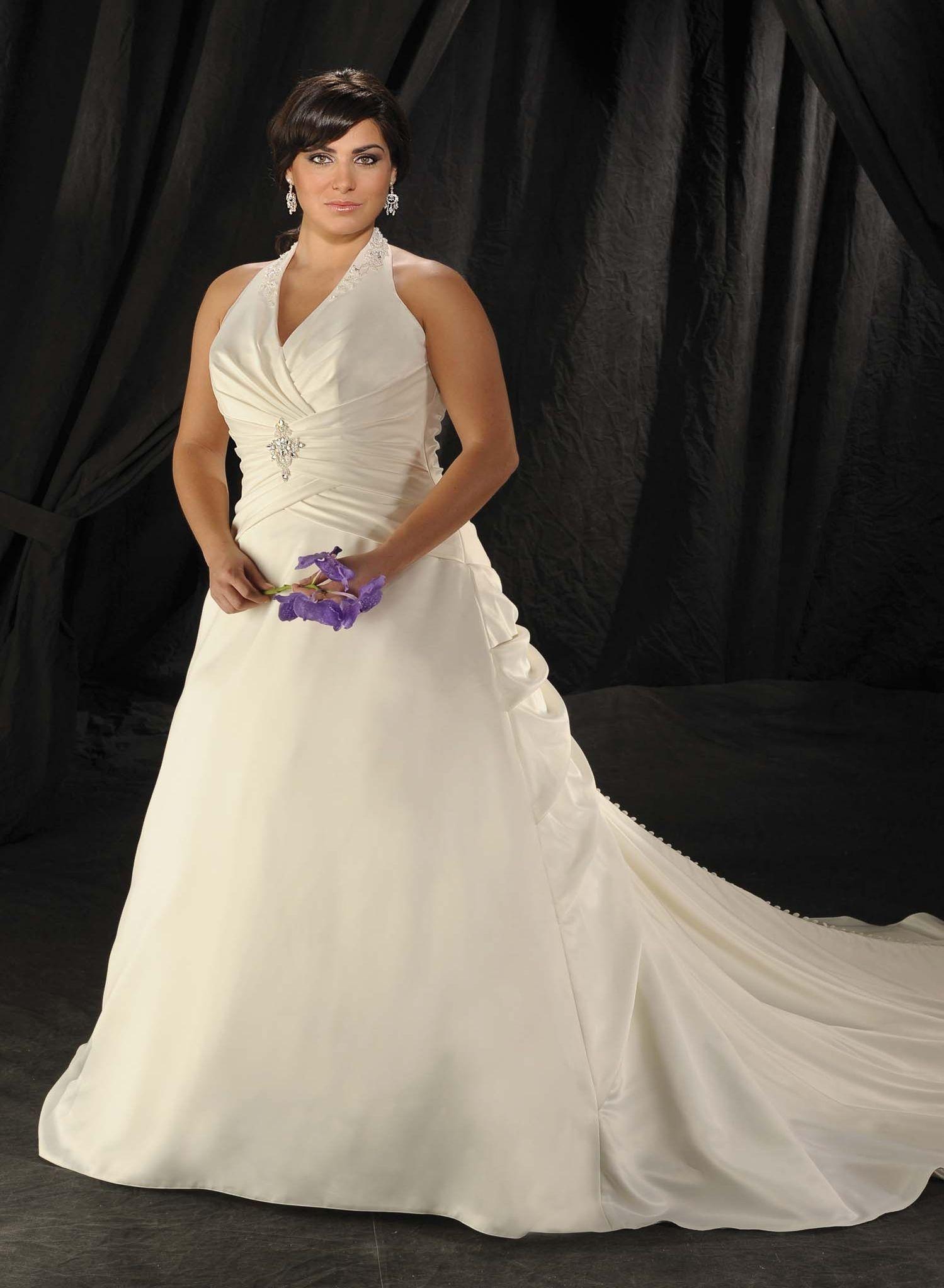 Elegant Halter Wrinkled Satin Watteau Train Plus Size Wedding ...
