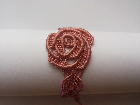 Pink Rose bracelet by Albumita on Etsy