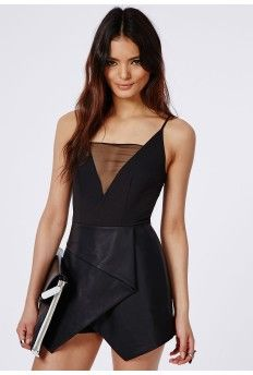 Strappy Leather Look Skort Playsuit Black