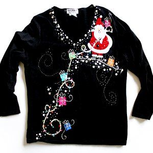 Santa Brings The Bling Tacky Ugly Christmas Sweater Womens Plus