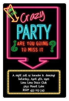 Disco Party Printable Invitation Template Customize Add Text