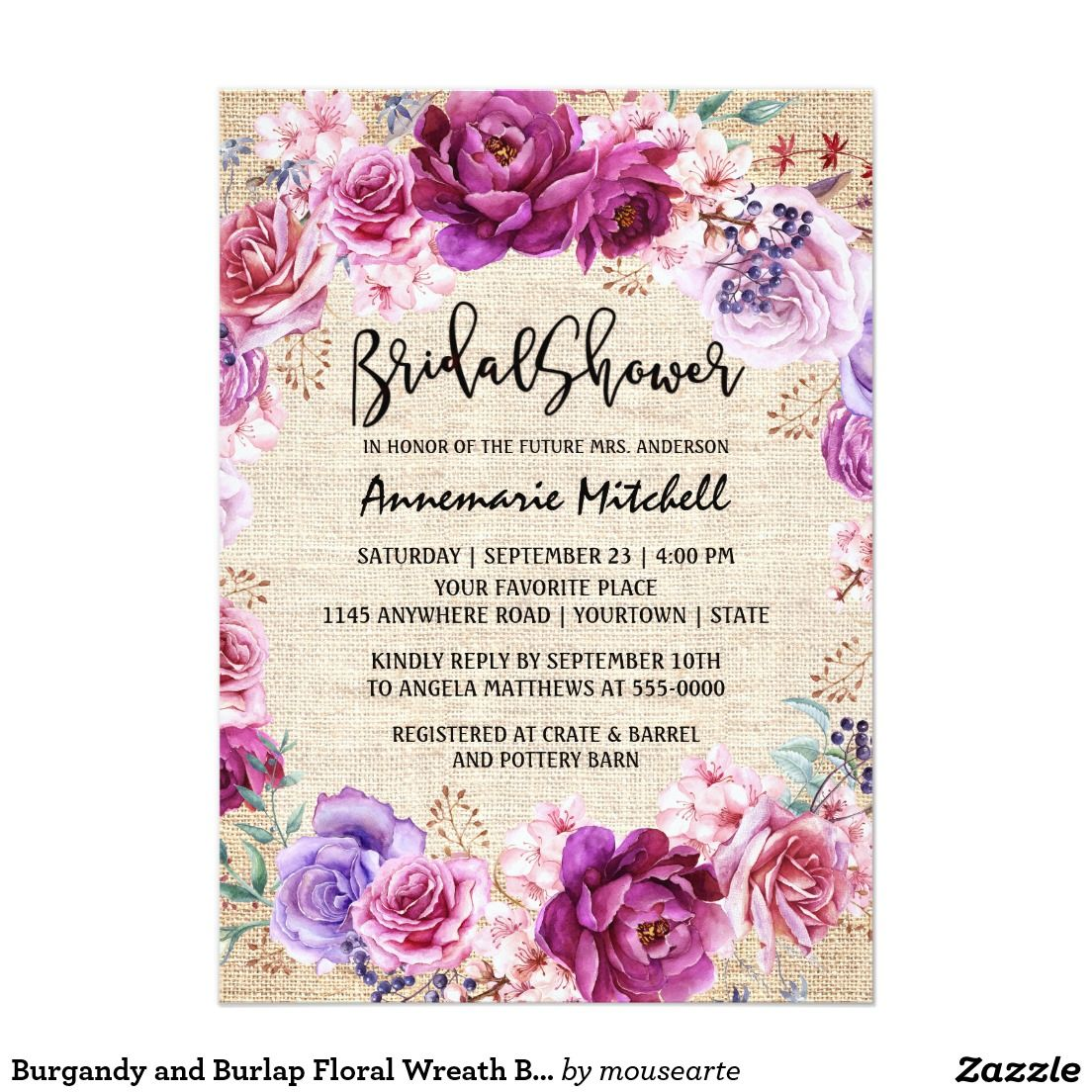 Burgandy and Burlap Floral Wreath Bridal Shower 5x7 Paper Invitations. Artwork designed by MouseArte Designs