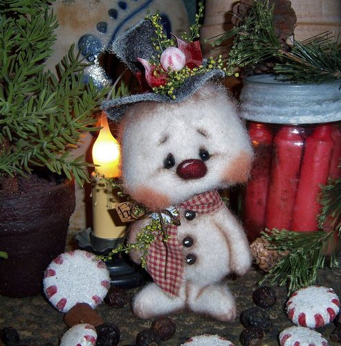"""Primitive Frosty Snowflake Christmas Ornie 5"""" Snowman Doll ★ Vtg Patti's Ratties  For ordering information email me at pattisratties3d@yahoo.com"""