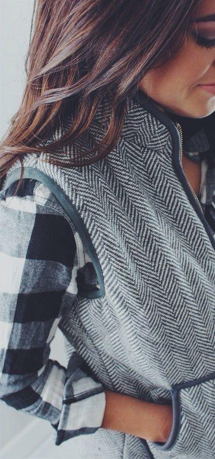 Puffer vest, black and white plaid shirt