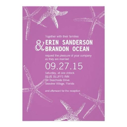 Radiant orchid starfish beach wedding invitation orchid wedding radiant orchid starfish beach wedding invitation stopboris Gallery
